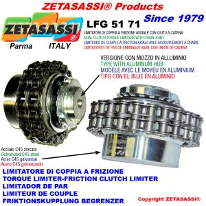 Torque limiter with chain coupling (light alloy hub)