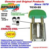 Completely in stainless steel linear drive chain tensioner